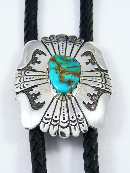 Large Sterling Silver and Turquoise Overlay Bolo Tie