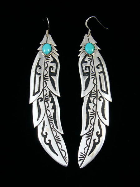 Navajo Sterling Silver Overlay Turquoise Feather Dangle Earrings
