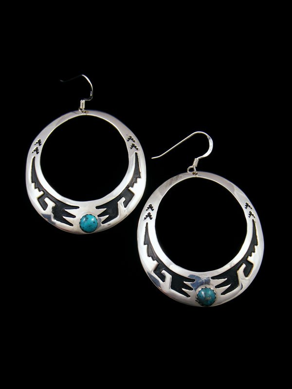 Navajo Overlay Sterling Silver and Turquoise Dangle Earrings
