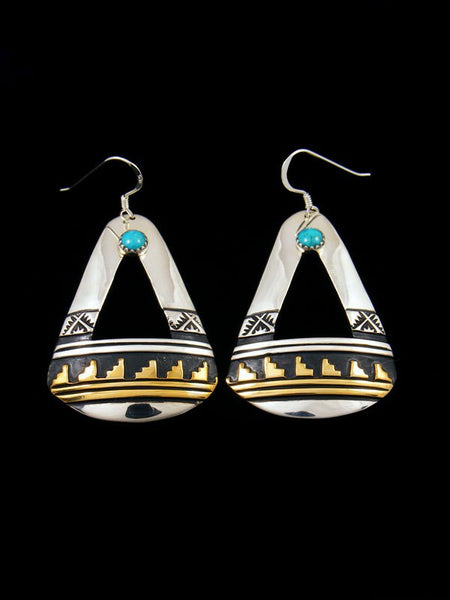Navajo Overlay Sterling Silver and Gold Turquoise Dangle Earrings