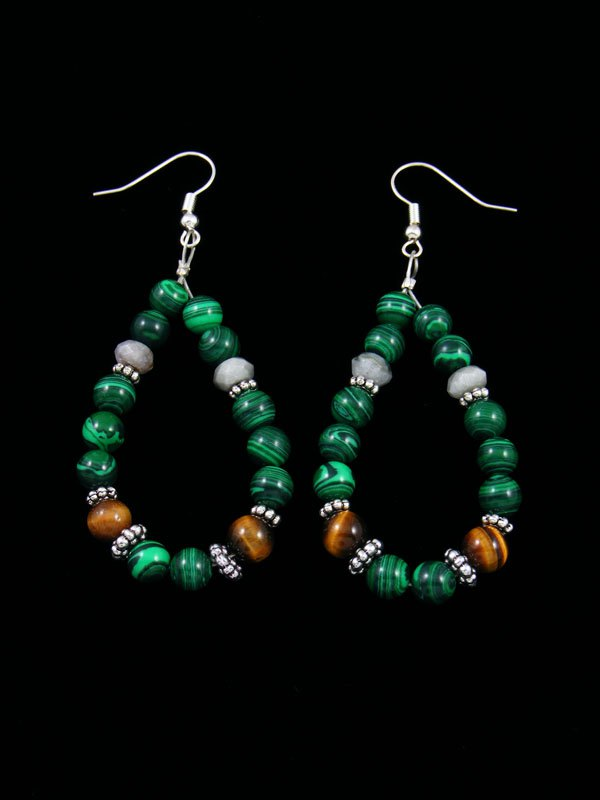 Navajo Malachite Beaded Dangle Earrings By Tommy And Rosita Singer At Pueblodirect Com