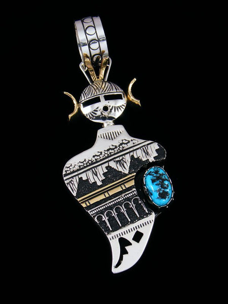 Navajo Gold and Sterling Silver Turquoise Kachina Pendant