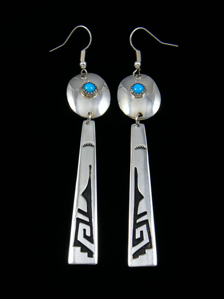 Sterling Silver Turquoise Dangle Overlay Earrings