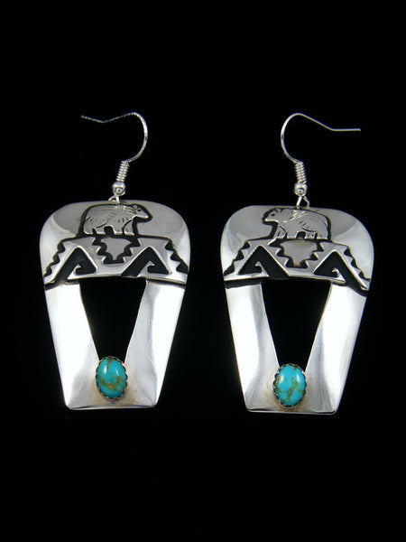 Navajo Sterling Silver Turquoise Overlay Bear Dangle Earrings