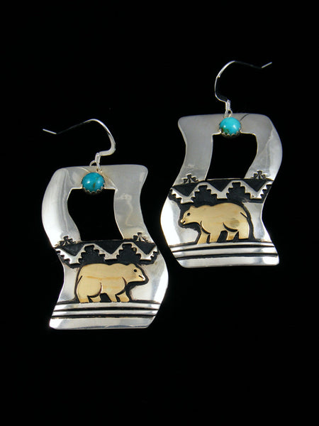 Sterling Silver and Gold Bear Turquoise  Dangle Earrings