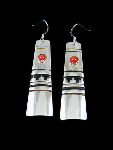 Sterling Silver Coral Dangle Overlay Earrings