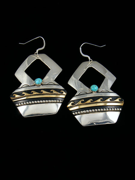 Turquoise Sterling Silver Overlay Dangle Earrings