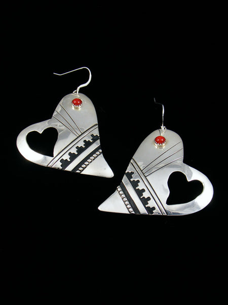 Sterling Silver Coral Heart Dangle Earrings