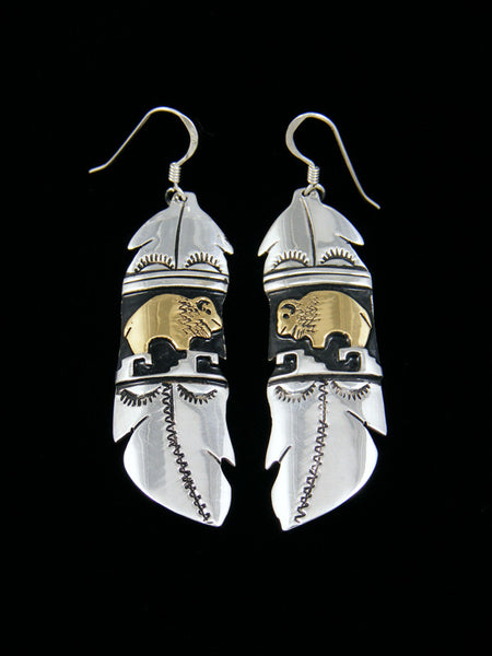 Sterling Silver and Gold Buffalo Feather Earrings