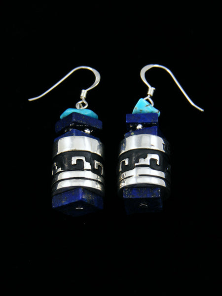 Lapis and Turquoise Sterling Silver Dangle Overlay Earrings