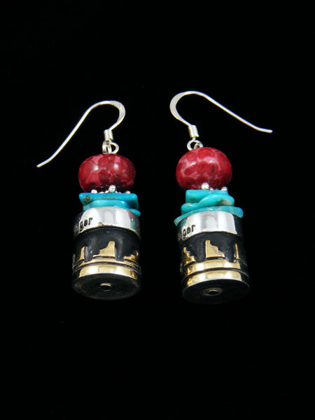 Dyed Jasper and Turquoise Dangle Earrings