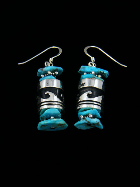 Turquoise Sterling Silver Dangle Overlay Earrings