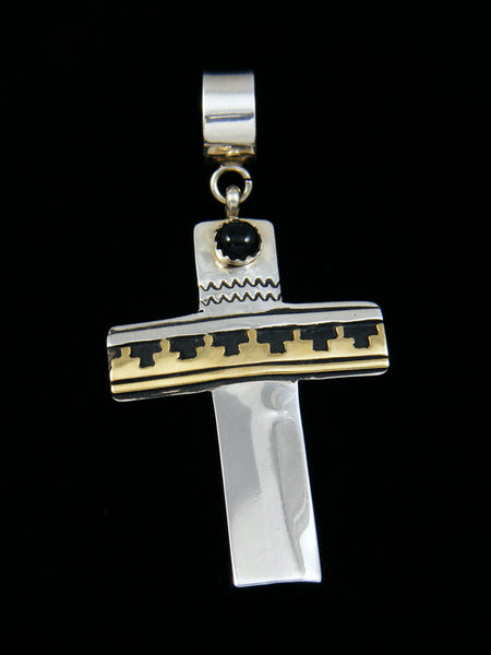 Native American Silver and Gold Overlay Onyx Cross Pendant