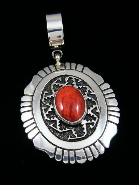 Sterling Silver Overlay Red Spiny Oyster Pendant