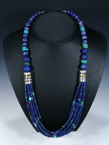 "Navajo Lapis and Turquoise Multi strand Beaded 30"" Necklace"