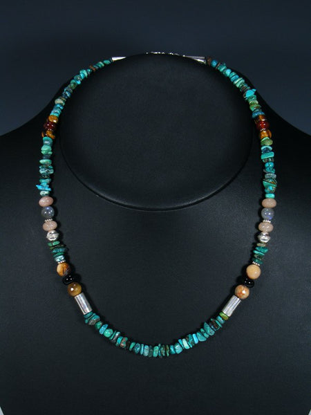 "Native American Turquoise 20"" Single Strand Choker Beaded Necklace"