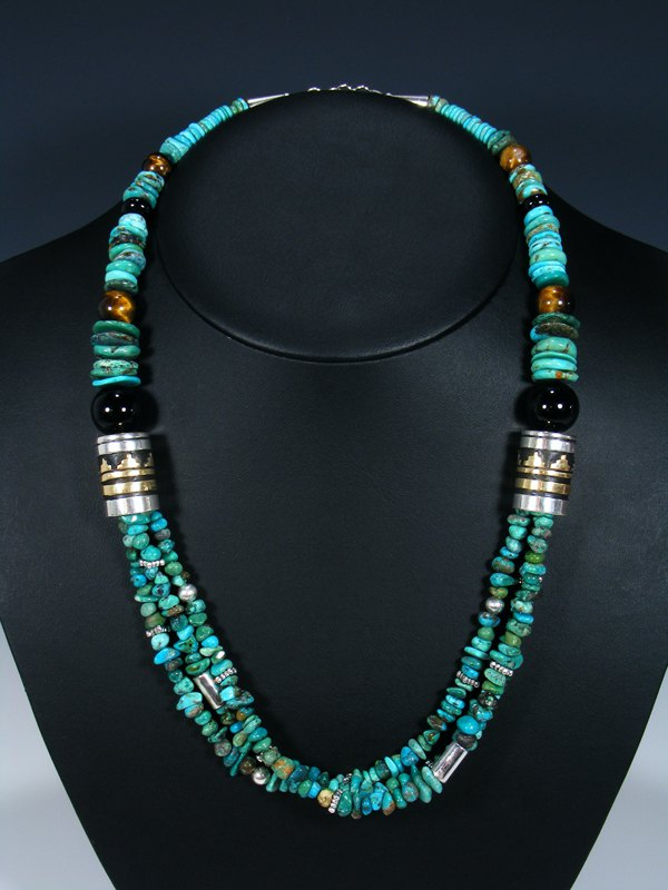Tiger Eye and Turquoise Multi Strand Beaded Necklace