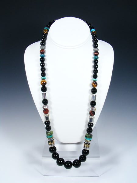 "Black Onyx and Turquoise Single Strand Bead 28"" Necklace"