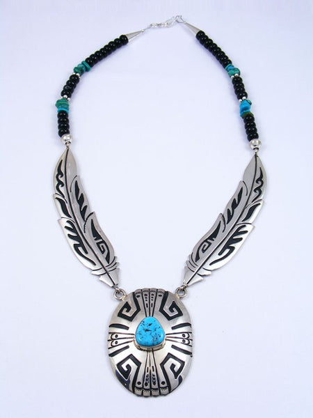 Sterling Silver Feather Onyx and Turquoise Bead Necklace