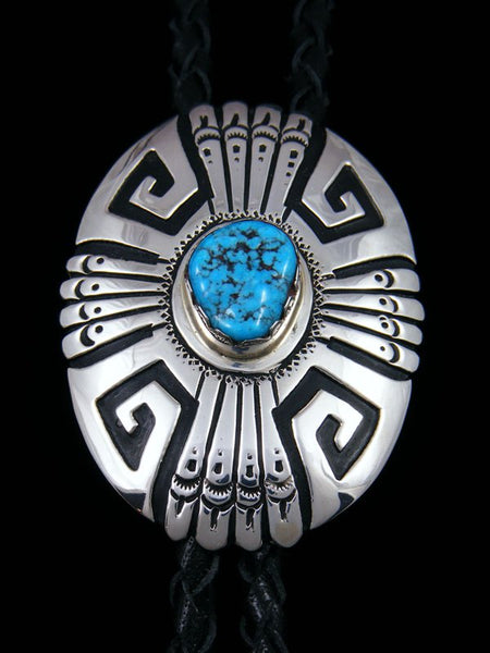 Navajo Sterling Silver and Turquoise Overlay Bolo Tie