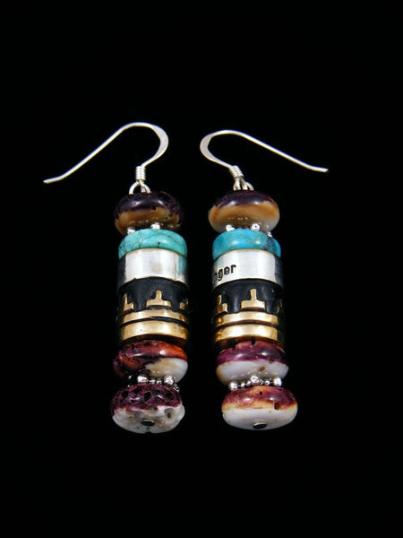 Turquoise and Spiny Oyster Dangle Overlay Earrings
