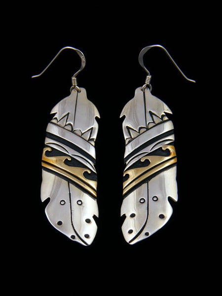 Sterling Silver and Gold Overlay Feather Earrings