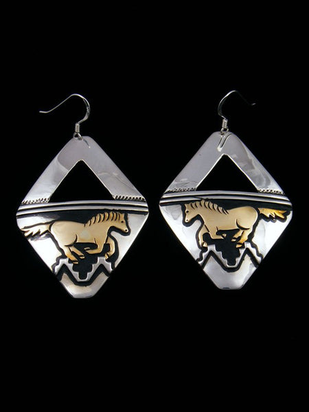 Navajo Sterling Silver and Gold Dangle Overlay Horse Earrings