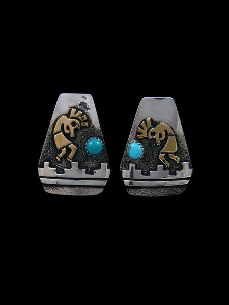 Navajo Sterling Silver and Gold Overlay Kokopelli Clip On Earrings