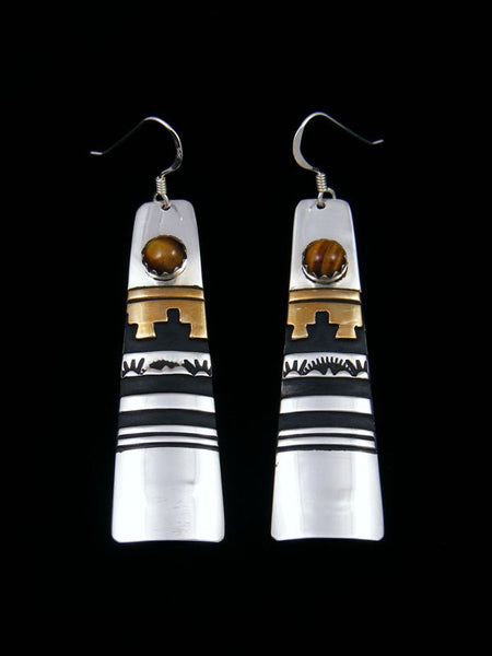 Navajo Sterling Silver and Gold Overlay Tiger Eye Dangle Earrings