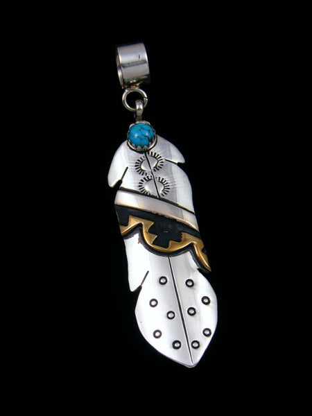 Native American Sterling Silver and Gold Overlay Turquoise Feather Pendant
