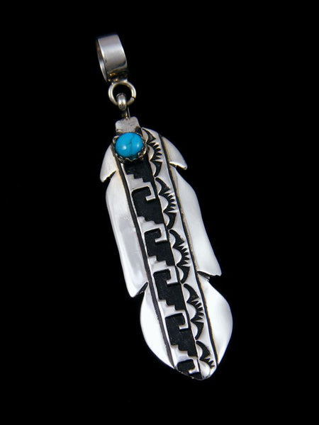 Native American Sterling Silver Overlay Turquoise Feather Pendant