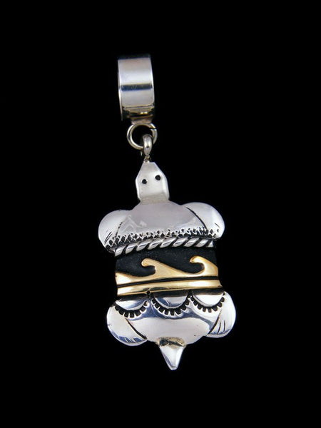 Native American Silver and Gold Overlay Turtle Pendant