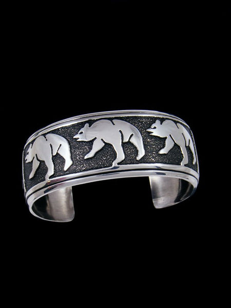 Native American Sterling Silver Bear Overlay Bracelet