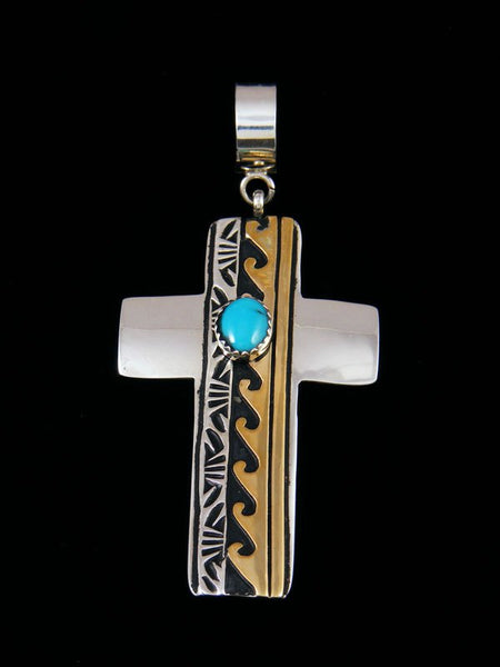 Native American Gold and Sterling Silver Overlay Turquoise Cross Pendant