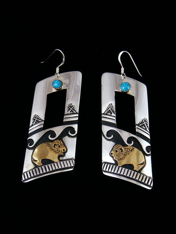 Navajo Overlay Sterling Silver and Gold Dangle Earrings