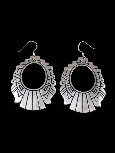 Navajo Overlay Sterling Silver Dangle Earrings