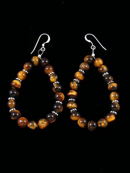 Tiger Eye Beaded Dangle Earrings