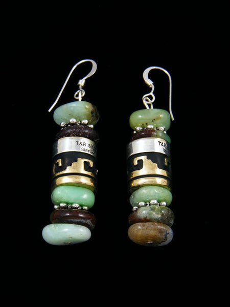 Navajo Onyx Dangle Overlay Bead Earrings