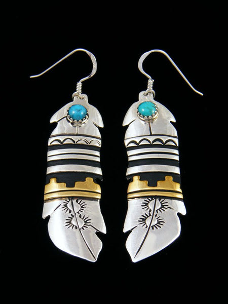 Navajo Sterling Silver and Gold Dangle Overlay Feather Earrings