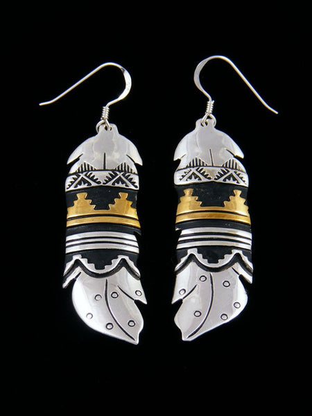 Navajo Etched Sterling Silver and Gold Dangle Overlay Feather Earrings