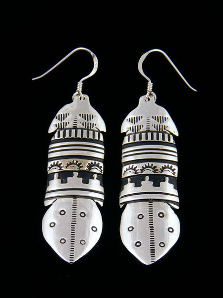 Navajo Etched Sterling Silver Dangle Overlay Feather Earrings