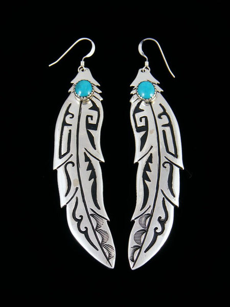 Navajo Overlay Sterling Silver and Turquoise Feather Dangle Earrings