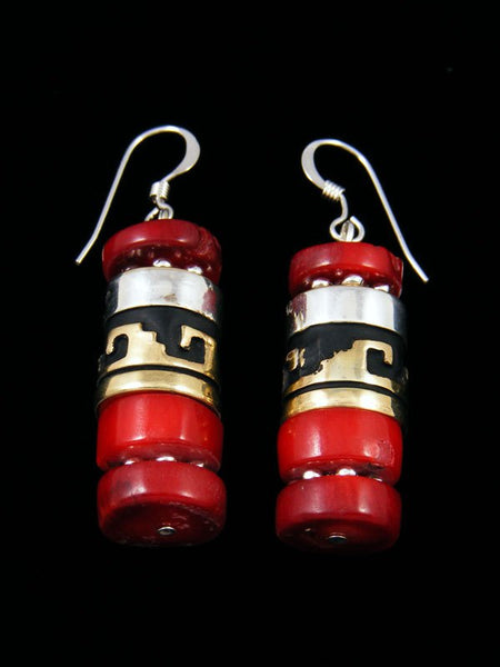 Navajo Coral Dangle Overlay Bead Earrings