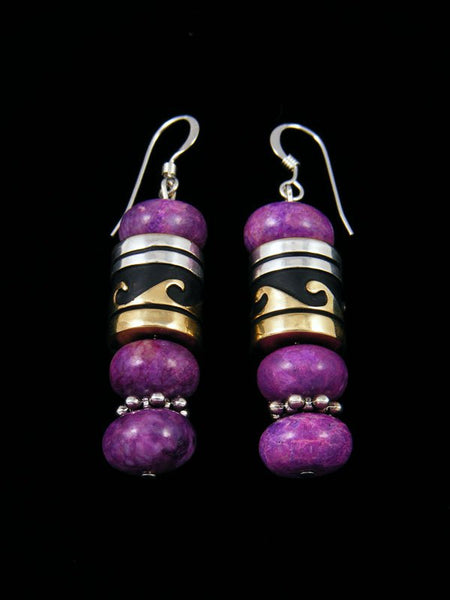 Navajo Dyed Jasper Dangle Overlay Bead Earrings