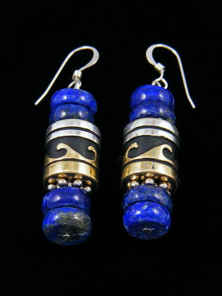 Navajo Lapis Dangle Overlay Bead Earrings