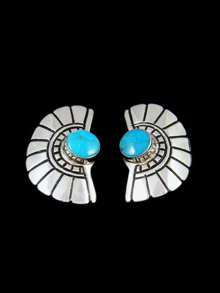 Navajo Overlay Sterling Silver and Turquoise Post Earrings