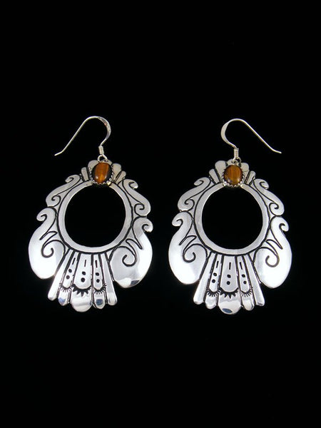 Navajo Sterling Silver and Tigers Eye Dangle Overlay Earrings