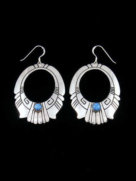 Navajo Sterling Silver and Denim Lapis Dangle Overlay Earrings