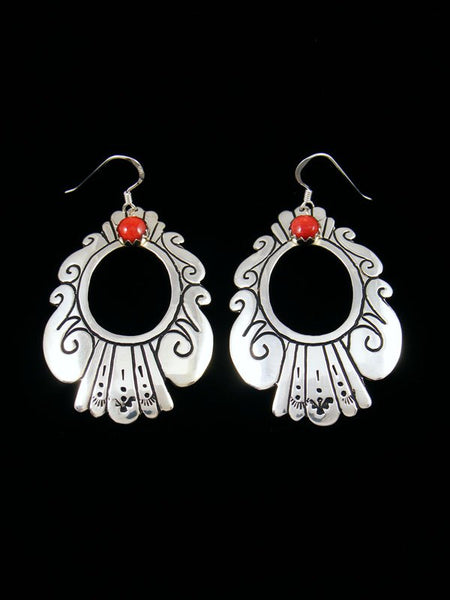Navajo Sterling Silver and Spiny Oyster Dangle Overlay Earrings