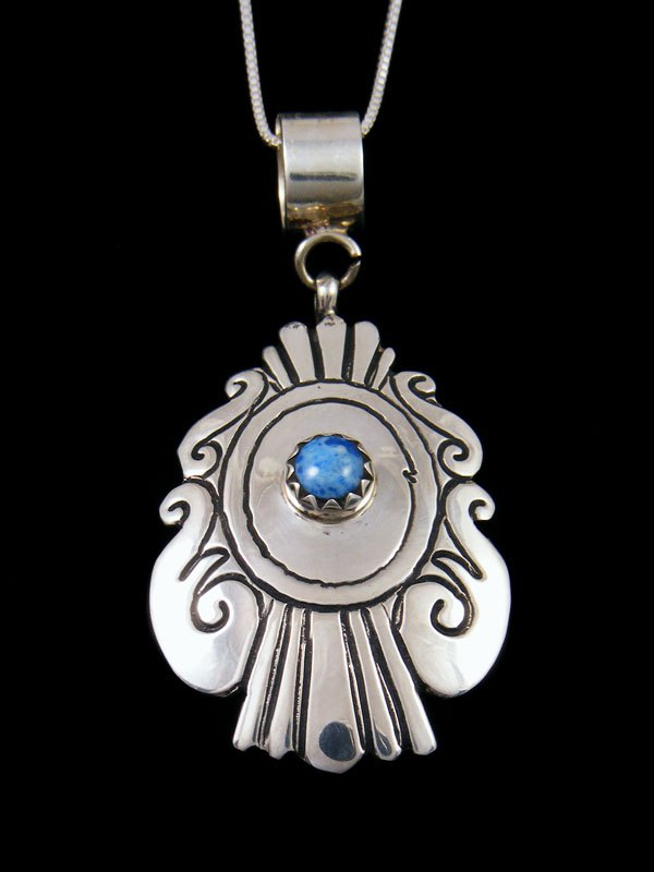 Native American Sterling Silver Overlay Denim Lapis Pendant